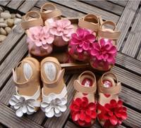 Summer children sandals for girl 3D big flower cowhells bottom pu fabric girls princess shoes baby sandals shoes retail QS315