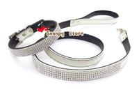 New Black Bling Rhinestone Crystal Jeweled Leather Pet Cat Dog Collar&Leash Set Free Shipping