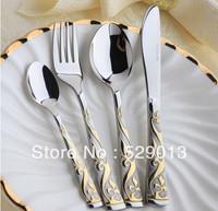 Top Quality Western mirror polishing stainless steel gold plated elegant dinnerware 4pcs set knife fork spoon teaspoon set