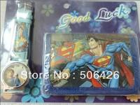 1pcs Drop shipping  Superman Cartoon Child Quartz Wrist Watch/Clock with One Purse/Wallet/Pocket for Boys, Kids, Children