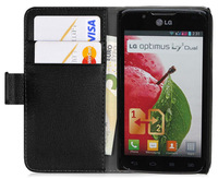 L7 II Dual Case, Luxury Wallet Style Stand Leather Case for LG Optimus L7 II Dual P715 With Card Holder + Flim + Touch Stylus