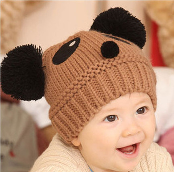 2013  Supernova Sales Infant hat cute pandas fall  handmade knitted crochet  hat / warm wool hat boys and girls for hat cap
