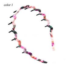 Wholesale 12pcs Fashion Colorful Wave Headbands with Teeth Ladies Korean Chiffon Wrapped Hairband  Women Hairware(China (Mainland))