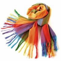 Free shipping Min.Order $10 High quality Fashion ladies multicolor rainbow cotton scarf
