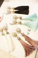 Min.order is $15(mix order)  ladies  long tassel earrings Elegant pearl    tassel earrings
