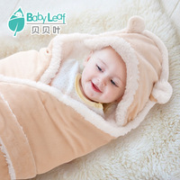 Baby blanket hooded pack blankets coral fleece swadding warm& soft blanket 80cm*80cm for newborn Free shipping