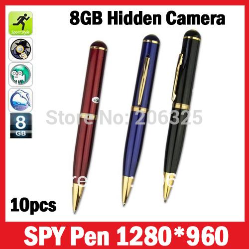 10pcs per lot,Colorful mini hidden pen camera 8GB,Fashion mp9 pen camera,Video Pen R