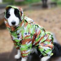 Green Pink Small Sizes Fashion Camouflage Dog Pet Waterproof Raincoat Rain Coat Jumpsuit Tracksuit Small Dog Clothes 5Sizes
