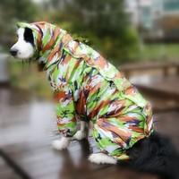 2Color BIG Sizes Camouflage Pet Dog Raincoat Teddy Golden Retriever Waterproof Rain Jacket Jumpsuit Large Dog Clothes