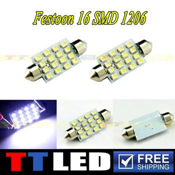 30 X 31mm 36mm 39mm 41mm Festoon Dome 16 SMD 3528 1210 LED 12V Car reading indicator License plate led lamp white #TK04