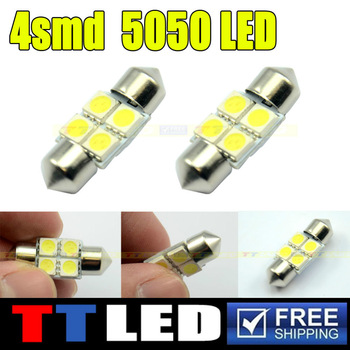 500X  White C5W 5050 4-LED 39mm 41mm Festoon Dome LED Light Bulbs 4 SMD License Plate Light Indicator Lights #TK06
