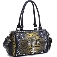 New Designer Inspired High Quality Women Leather Handbags Rhinestone Studs Adorned Shoulder Bag with Animal Print
