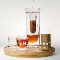 "tea set  special style Derlook zens quality glass  bamboo tray ""Extraction"" Tea Gift Set"
