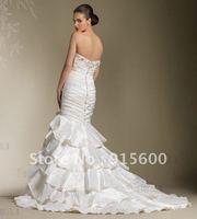 New fashion wedding dress mermaid taffeta applique Crystal Custom size - wholesale,