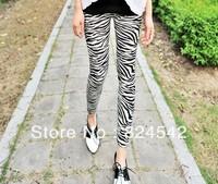 Free Shipping Fashion Zebra High Elasticity Nine Minutes Of Pants For Women Lady's Leggings