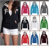 Free shipping 2013 new women A fashion sport hoodies FF,zip Sweatshirts full Ladies clothes all 75 styles
