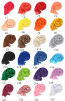 Specials ! Free shipping 24 colors new autumn and winter woman wrinkled cotton long scarf shawl