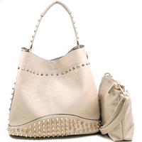 Dasein Brand Inspired High Quality New Designer Leather Handbags Women Studded Fashion Hobo Bag with Bonus Strap & Suede Interio