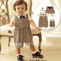 baby Plaid vest faux two piece romper baby bib pants set vest set 622227