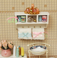iland 1/12 Dollhouse Miniature Kitchen Studyroom Bathroom Commodity Shelf / Rack Useful  Multifunction