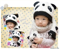 Panda Design Baby Hat Children Knitted Hat With Scarf Cartoon Baby Winter Cap Scarf Infant Panda Beanie Headwear Christmas Cap