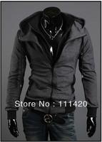 Men Coat  Special Zipper Hoddie Outdoor Jacket Men's Clothing Black and Gray M L XL XXL T-SL