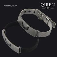 High quality fashion stainless steel braided net polished skull printed bangle bracelet for women black bracelets QR-30