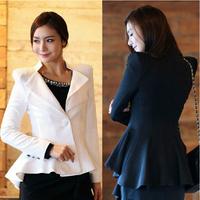 OISK korea formal female Swallowtail coat shrug shoulder womens one button jacket blazers