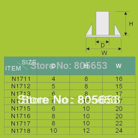 stainless 4-prong steel m8 tee nut (N1717)