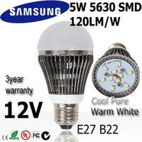 12pcs/lot  5w led light bulb lamp  E27 12V SAMSUNG SMD  120LM/W Warm / Natural /  Cold white light bulb  3year warranty