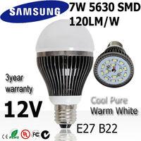 12pcs/lot7w led light bulb lamp  E27 12V SAMSUNG SMD 120lm/w  3Years warranty