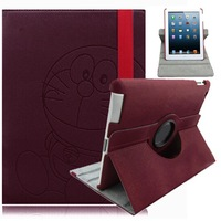 1Pc Luxury Wine Red 360 Roatating PU Leather Stand Case Cover for Apple  iPad 2 3 4 Case