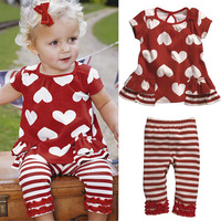 Kids Baby Girls Red Hearts Striped 2 Pcs Top+Pants Outfits Costume Clothes 0-3Y Free shipping & Drop shipping