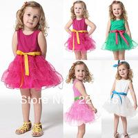 New Girls Princess Kids One Piece Dress w/Belt Tutu Dress Cotton Costume 1-6Y XL135 Free shipping&DropShipping