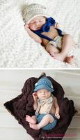 Free Shipping Fashion 3Pcs Baby  Boys Girls Newborn Infant Kids Hat+Bow Tie+Pants Crochet Knit Outfit Set Suit Photo Props 0-8 M