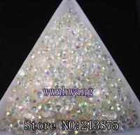 Free shipping 3D Nail Art Tips SS6 2mm Crystal white jelly resin crystal flat back rhinestone not hotfix nails 1000pcs