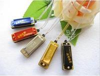 10pcs New Mini Harmonica 4 hole 8 tone Necklace C Free shiping 0050