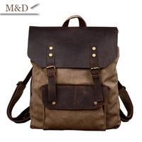 Wholesale European & American Style Cattlehide Unisex Backpack Vintage Canvas School bags Backpack