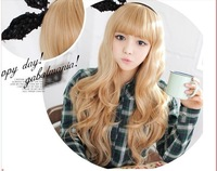 Free Shipping  New women heat resistant  long hair golden cosplay anime wig for women