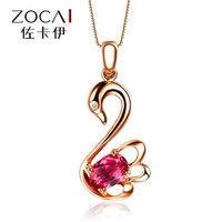 ZOCAI brand real 18K rose gold Tourmaline swan DIAMOND Pendant 925 string silver chain nacklace fine jewelry