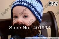 Free Shipping 2 style stripe Baby Boy Beanie Handmade Crochet Newborn baby Beard Hat,everyday outdoor caps