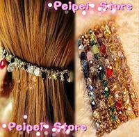 Min order $ 10 Hot 2015 new fashion jewelry Colorful headdress irregular crystal gold wire hair bands hairpins hair accessories
