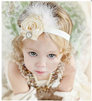 2013 Baby Headband Infant girls chiffon lace Flower Headbands Newborn toddler printing rose feather Headband 5pcs/lot