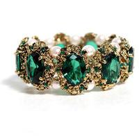 Vintage Gold Plated Designer Emerald Green Acrylic Stone Women Bracelets Hot Sale Free Shipping