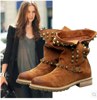 Free Shipping 2014 New Ankle Boots Hot Brand Women's Boots High Quality Vintage Riding Genuine Leather Boot ILXZ1079