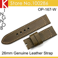 HK Post Free 1psc/lot Army Green Genuine Leather Straps 26mm Sports Watch Bands For Panerai
