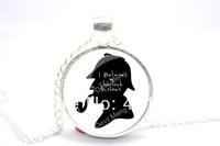 10pcs/lot Sherlock Holmes 'I Believe in Sherlock Holmes'   Glass Cabochon Necklace