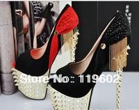 Fshion 2014 sexy women's pumps 16cm ultra high heels platform party dance shoes rivet pumps free shipping