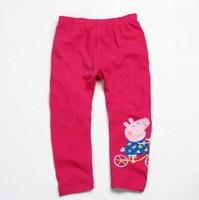 FREE SHIPPING G4223# Baby Girls Pants Peppa Pig Pants Children Girl's Leggings Long Pants for Girls Clothing 3 Colors