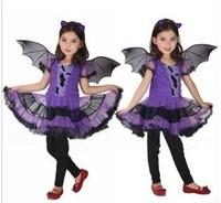 Chritmas Costume for Girl Children Dance Costumes for Kids Purple Bat Halloween Costume Dress